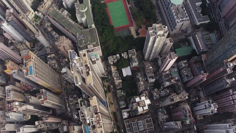 Hong Kong Aerial v177 Vertical birdseye view flying over Tai Ping Shan area