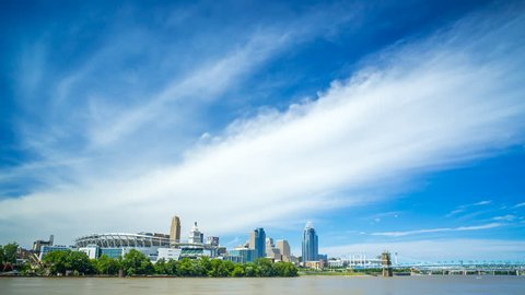 Cincinnati Skyline Time Lapse With River and Boats 4K 1080P - Time lapse of ohio river with cincinnati skyline in background