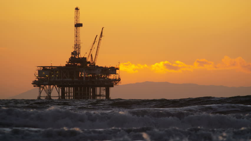 Oil Platform In The Sea At Sunset Stock Footage Video