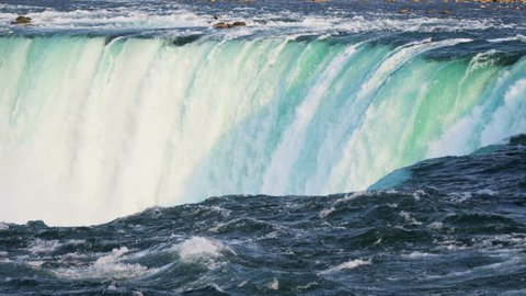 Niagara Falls fast flowing waterfall producing clean fresh water a natural renewable Hydropower energy source slow motion RED EPIC