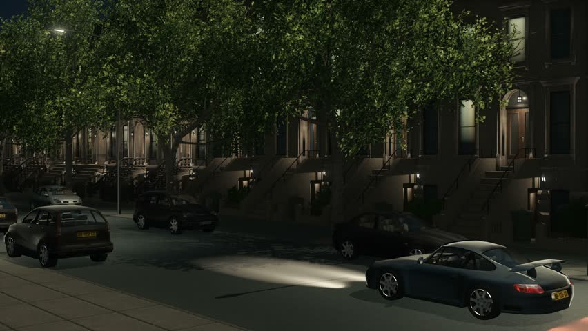 Typical New York City brownstone residential buildings, view from the street with parked and moving cars at night. Establishing shot loopable 3D animation rendered in 4K