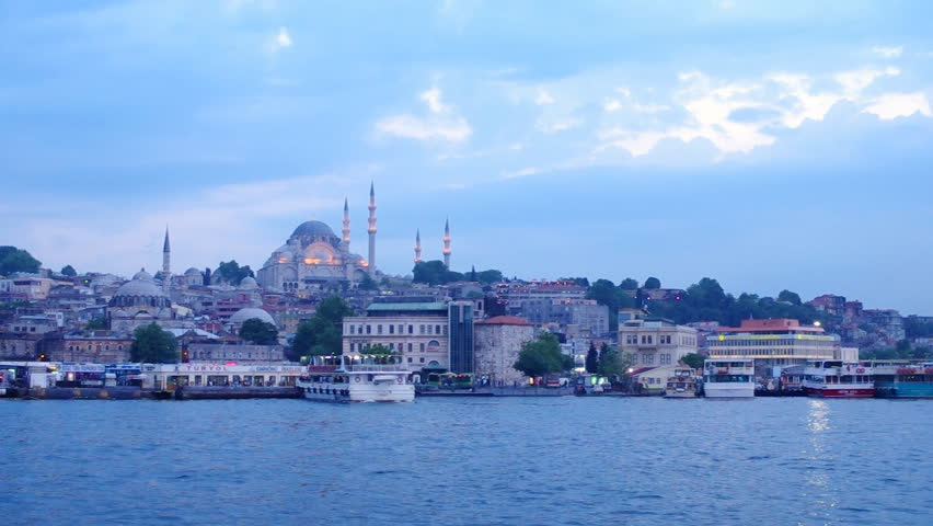 ISTANBUL, TURKEY - MAY 22: View to the Süleymaniye Mosque from the Golden horn harbor. The Suleymaniye Mosque is the second largest mosque in the Istanbul and can accommodate more then 5,000 visitors.