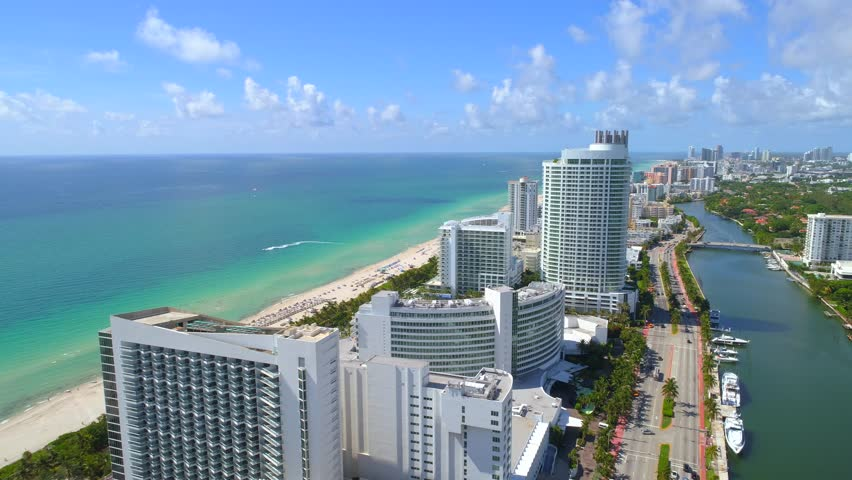 Aerial video beachfront resorts Miami Beach Florida 4k 24p | Shutterstock HD Video #29058286