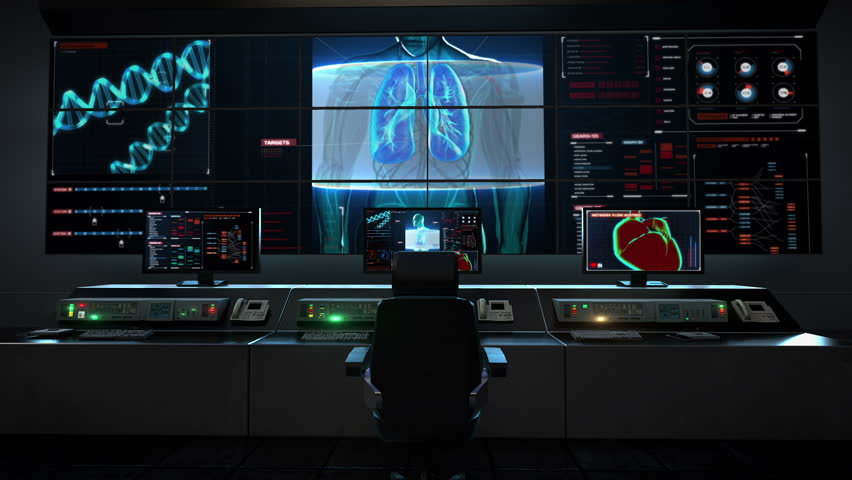 Human medical care center, main control room, Scanning body. Rotating Human lungs, Pulmonary Diagnostics in digital display.