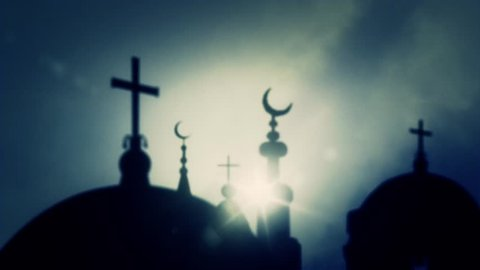 Islam Crescent of Mosques And Crosses of Churches on a Cloudy Sky Background