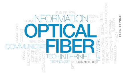 Optical fiber animated word cloud, text design animation. Kinetic typography.