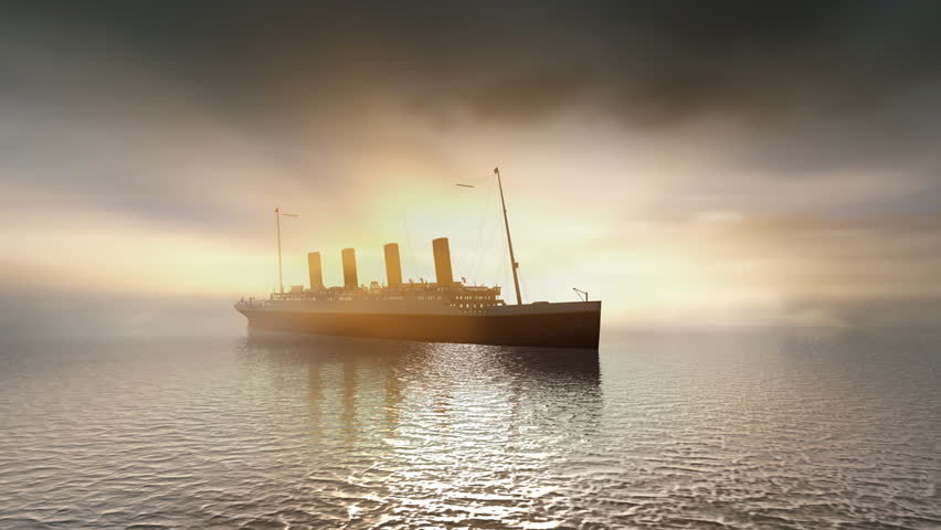 Ocean liner Titanic on calm seas with sunset