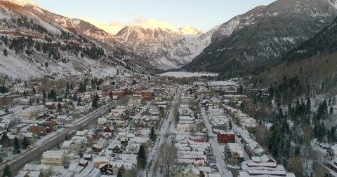 Telluride Colorado Sunset City Aerial