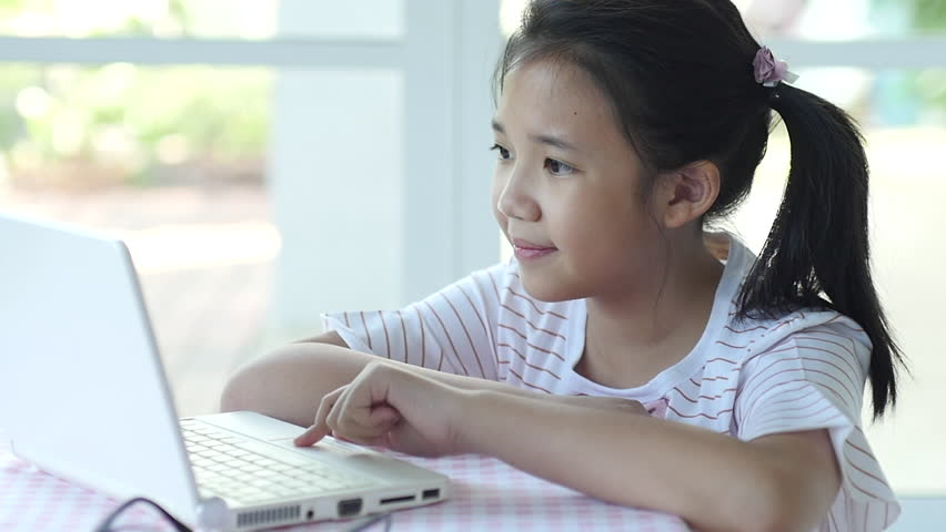 Close up of cute asian children using laptop slow motion | Shutterstock HD Video #29136586