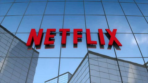 July 2017, 3D animation, Netflix logo on glass building.