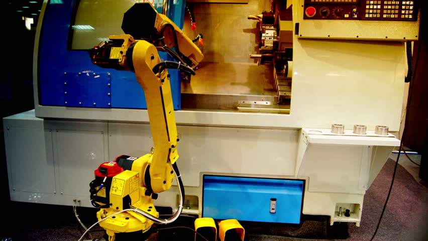 robot mechanism works in the  factory