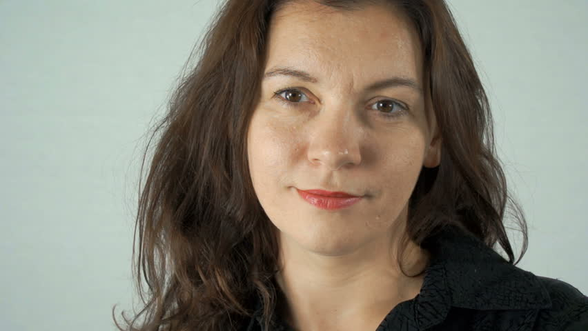 Portrait of a European woman on a white background. | Shutterstock HD Video #29175208