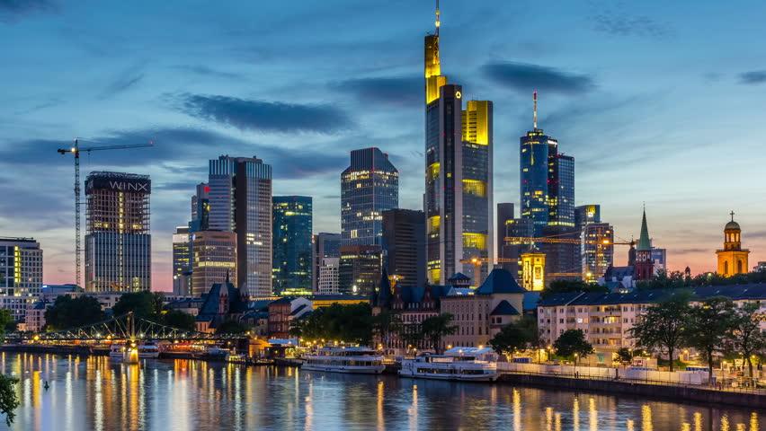 FRANKFURT AM MAIN, GERMANY - JUL 7, 2017: Skyline of Frankfurt, the financial capital of Germany on July 7, 2017. Timelapse view 4K.