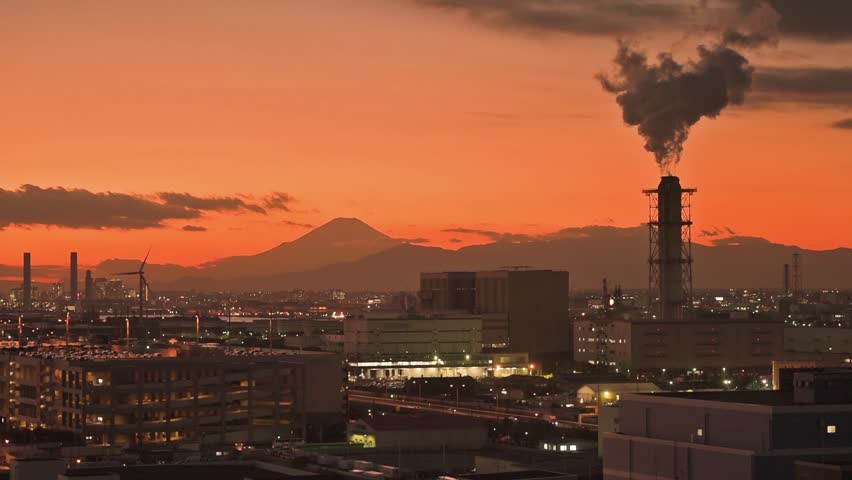 Mt. Fuji and factories viewed from Kawasaki, Japan.   Shutterstock HD Video #29180506