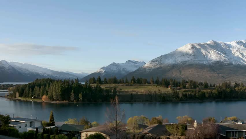 Queenstown, New Zealand. December 2011.pan shot of the panoramic view over Lake