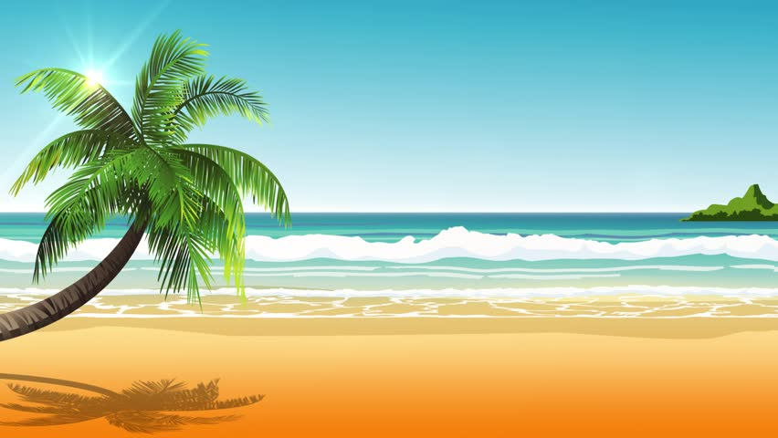 Beautiful noon on a tropical beach with an island and a palm tree.