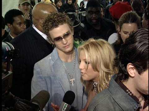 Los Angeles, CA - JANUARY 08, 2001: Justin Timberlake, Britney Spears, walks the red carpet at the American Music Awards 2001 held at the Shrine Auditorium