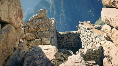 Move Through Ancient Building Ruins In The Mountains