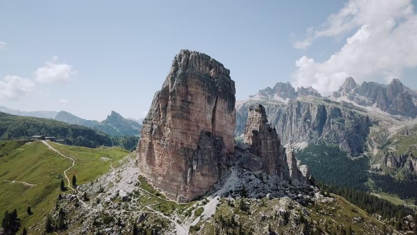 Aerials Le Cinque Torri. Cortina d'Ampezzo - Dolomiti. Beautiful mountains aerial panorama.
