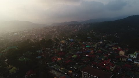 Baguio, Philippines - May 3, 2017: Baguio Aerial view showing Summer Capital city view with surrounding countryside and mountains