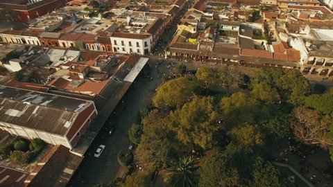 An aerial view of the historic Antigua Guatemala town in Sacatepequez Guatemala, Central america