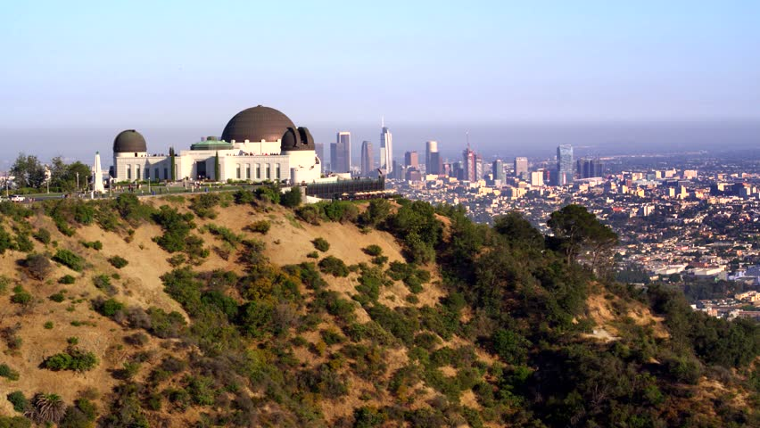 Griffith Park Observatory and view of Downtown Los Angeles