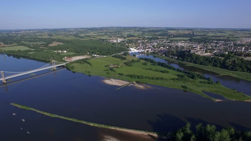 THE LOIRE VIEW BY DRONE AT SAINT-FLORENT-LE-VIEIL Aerial view of the Loire filmed by drone, Saint-Florent-Le-Vieil, France Loire Valley, Saint-Florent-Le-Vieil, Maine-et-Loire, France