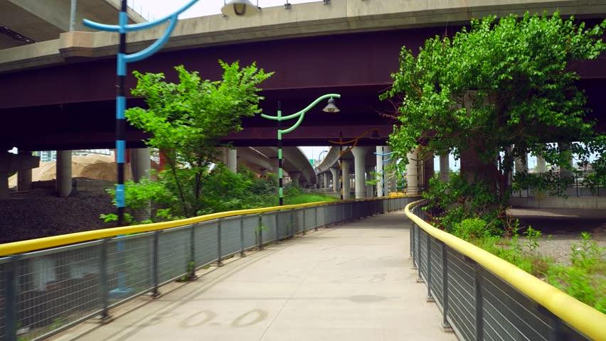 BOSTON, MA, USA - JULY 1, 2017: Paul Revere Park Milers River Littoral Way Artwork | Shutterstock HD Video #29244886
