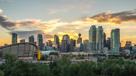 Beautiful Calgary Sunset Time Lapse of Skyline 4k 1080p - Time lapse of sun setting behind downtown calgary alberta