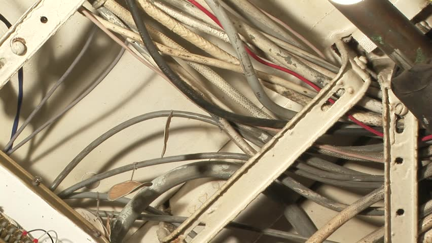 close up of electrical cables in engine room on retired coast guard cutter  at the inner harbor in baltimore,