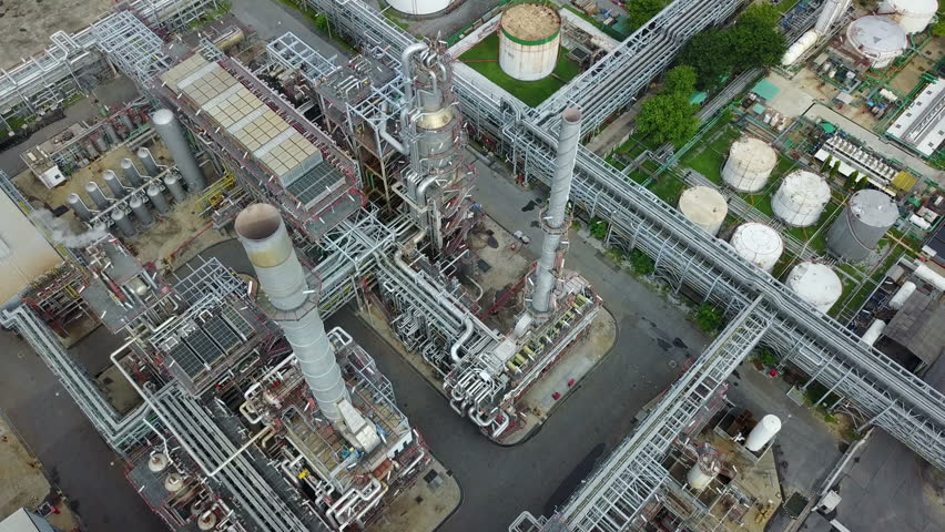 4K Top view of a petrochemical plant