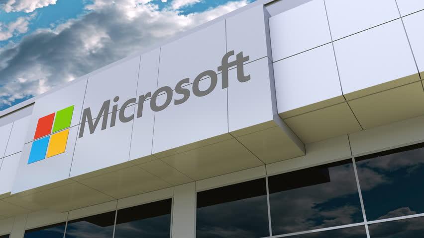 Microsoft logo on the modern building facade. Editorial 3D rendering