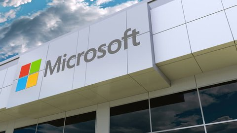 Microsoft logo on the modern building facade. Editorial 3D rendering