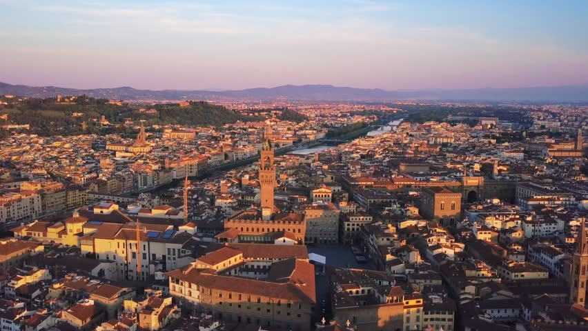 Florence aerial view at sunrise flying over city center | Shutterstock HD Video #29326096