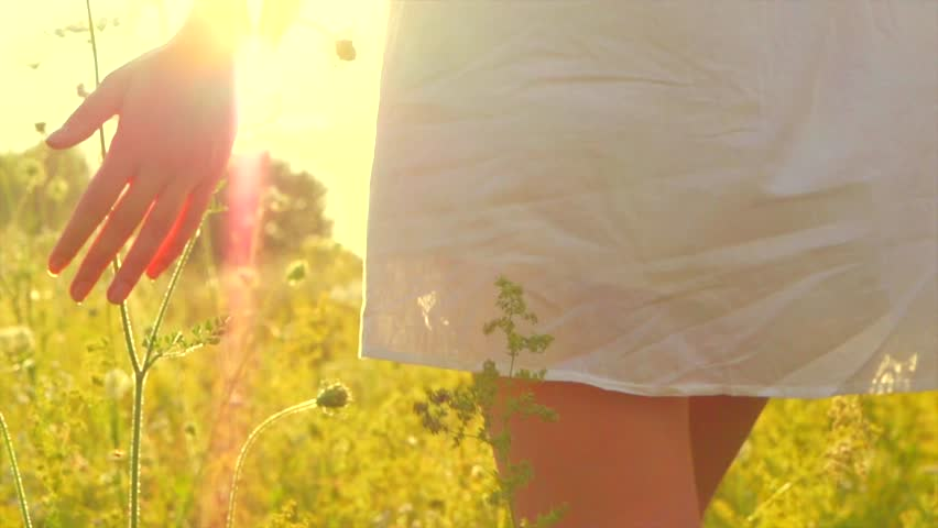 Beautiful young woman walking on field with wildflowers, enjoying nature outdoors. Beauty sexy brunette girl in short white dress touching wild grass. Slow motion 240 fps. 4K UHD video 3840x2160