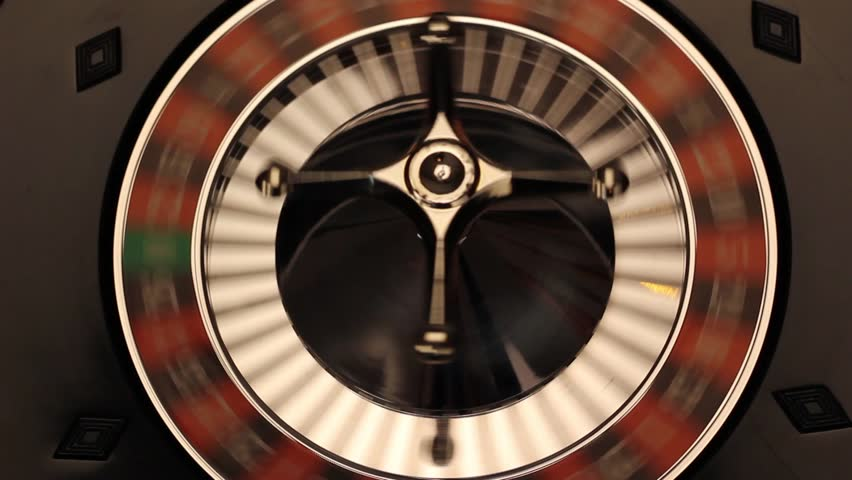Spinning Roulette wheel with ball