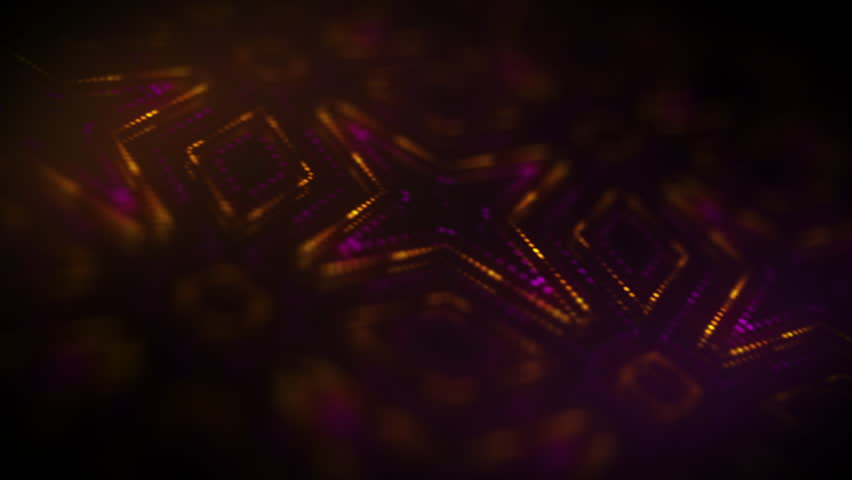 4K Sci-fi Futuristic Kaleida Background Camera 3 Depth of Field Digital Data Screen Pink and Yellow Stars  | Shutterstock HD Video #29418781