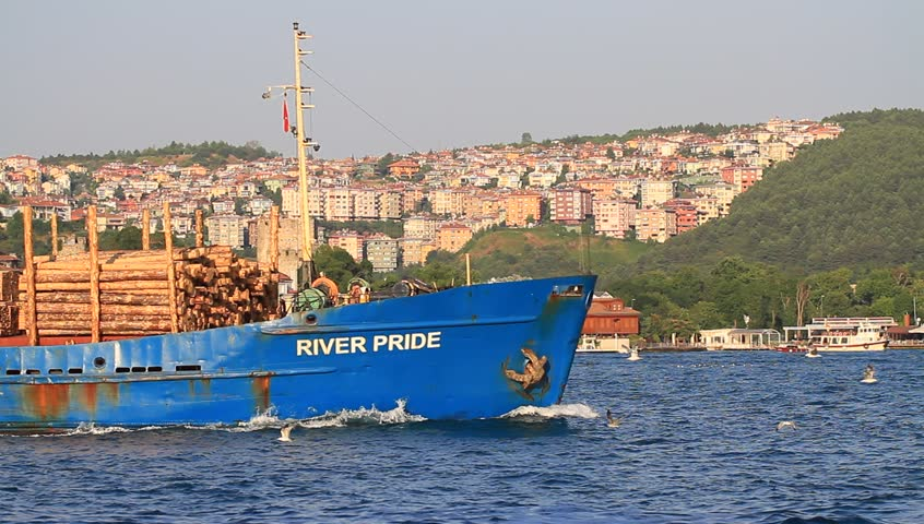 ISTANBUL - JULY 5: Cargo ship RIVER PRIDE (IMO: 8861034, Belize) on July 5, 2012 in Istanbul. A 109 mt long, 15 mt width vessel, launched into the sea in 1981 and has a deadweight of 3,197 tons