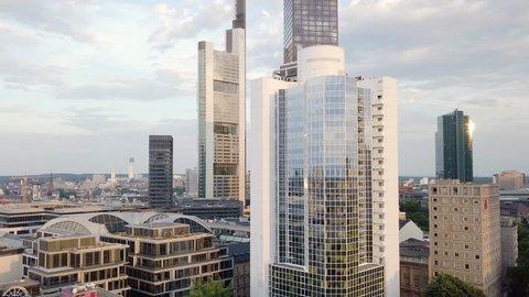 Aerial flight along skyline of Frankfurt city center