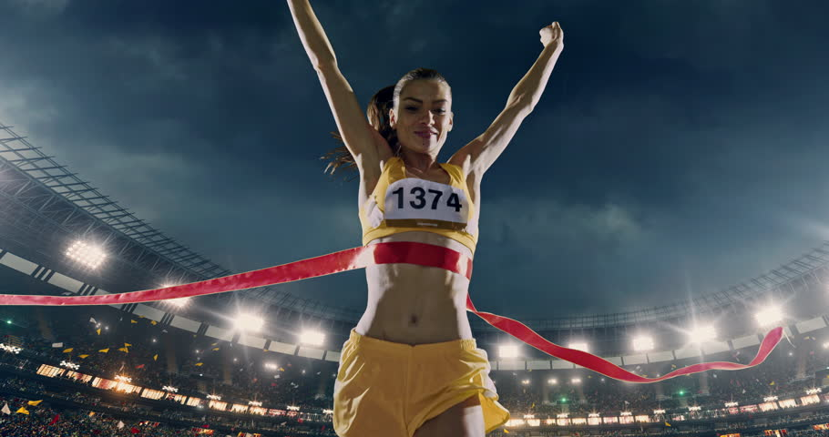 Track and field female  runner crosses finishing line on the professional sports arena. The man is happy, smiling with his arms raised. Arena and people on it are made in 3D and animated.