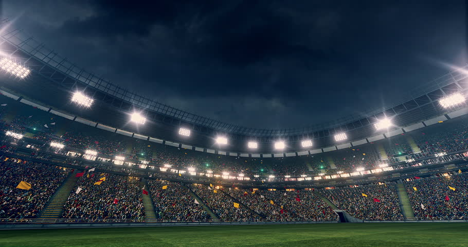 Outdoor soccer stadium or arena full of spectators under a stormy sky full 3d modelled and - Soccer stadium hd ...