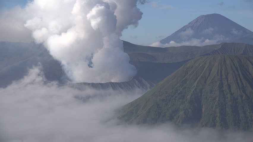 Time lapse of famous Mount Bromo volcano billowing smoke on East Java island in Indonesia  | Shutterstock HD Video #29473825