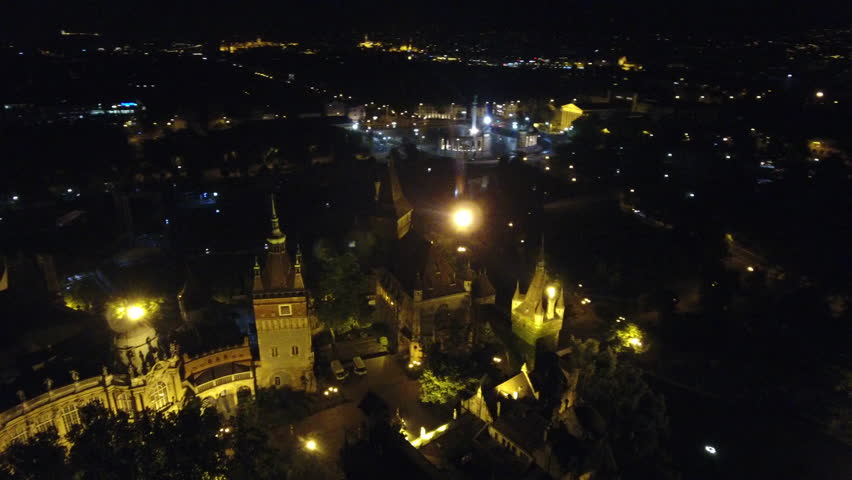 Aerial Shot Of Vajdahunyad Castle And Heroes Square Budapest Hungary | Shutterstock HD Video #29505046