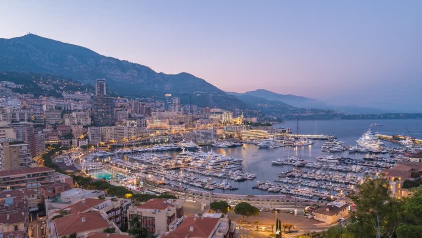 Monaco Ville city skyline day to night timelapse, Monte Carlo, Monaco, 4K Time lapse