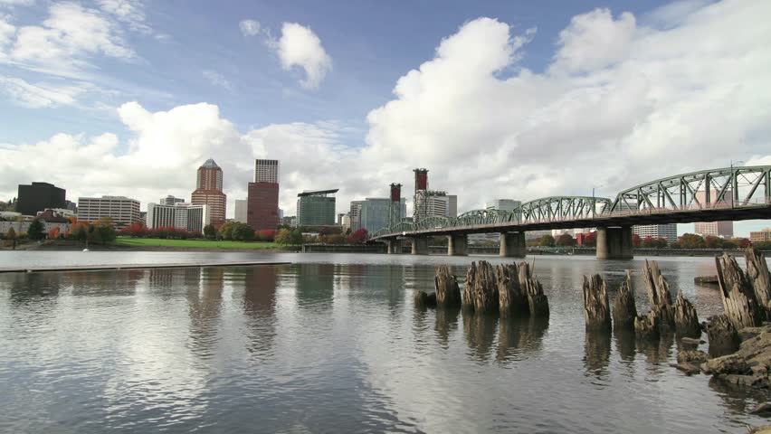 Portland Oregon Downtown Skyline with Hawthorne Bridge along Willamette River in Colorful Fall Season Timelapse 1920x 1080