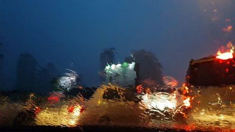 Traffic in rainy night