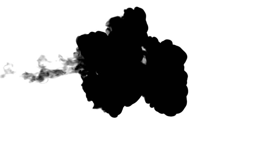 Black ink flow on white moving in slow motion, ink or smoke inject . Black pigment fuses in water for Inky or smoky background or ink effects. Use luma matte like alpha mask for alpha channel | Shutterstock HD Video #29582791