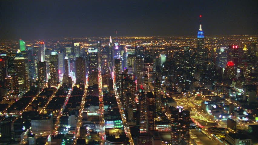 Aerial Shot of NYC Manhattan toward Chrysler Building at Night, New York, USA | Shutterstock HD Video #29629006