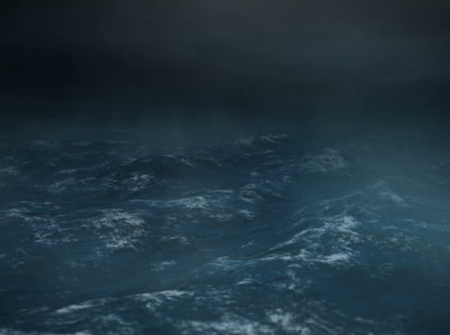 Stormy Sea at Night with Rain - NTSC - The camera rocks back and forth and lighting flashes in the middle of the ocean during a heavy storm or hurricane.  Rain drops hit the lens.