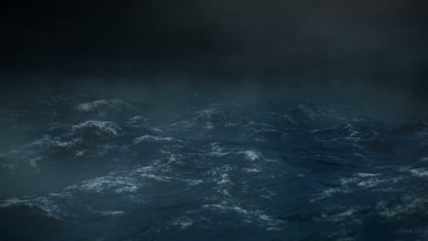 Stormy Sea at Night with Rain - 1080 HD - The camera rocks back and forth and lighting flashes in the middle of the ocean during a heavy storm or hurricane.  Rain drops hit the lens. #2966542